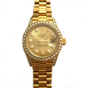 "Montre Rolex ""Datejust"" en or jaune sur bracelet or jaune, diamants."