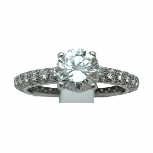 Bague solitaire en or blanc, diamant 1,10 carat, E/VVS1