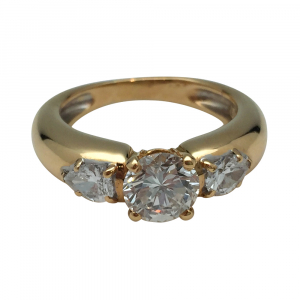 Bague Chaumet en or jaune, diamant 1,01 carat, F/IF.