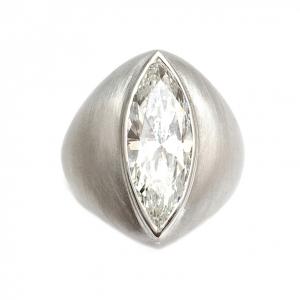 Sanded white gold ring, marquise cut diamond.