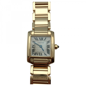 "Yellow gold Cartier watch ""Tank Française"" collection. Small size."