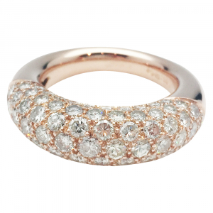 Bague jonc en or rose, diamants.