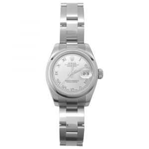"Stainless steel Rolex watch ""Datejust"" collection on a stainless steel bracelet."