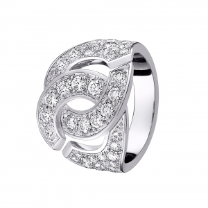 "Bague Dinh Van ""Menottes"" R16 or blanc, diamants."