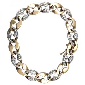 Bracelet Cartier maille plate or blanc et jaune, diamants.