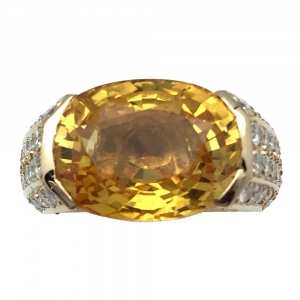 Bague or jaune saphir jaune, diamants.