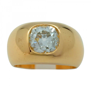 Bague jonc en or jaune, diamant 2 carats environ.