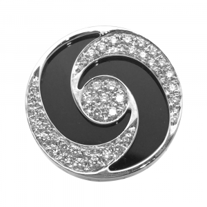 "Bague Bulgari ""Optical"" plateau tournant or blanc et acier, onyx et diamants."