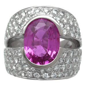 Bague jonc en or blanc diamants et saphir rose.