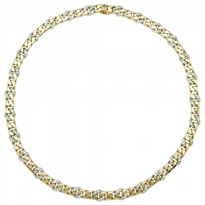 Collier Fred, gourmette, en or blanc et jaune, diamants.