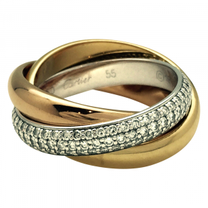 "Bague Cartier ""Trinity"" 3 ors et diamants."