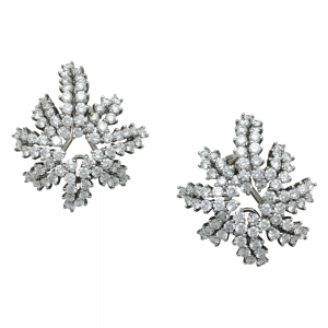"Boucles d'oreilles Tiffany & Co, modèle ""Fireworks"", en platine, or blanc et diamants."