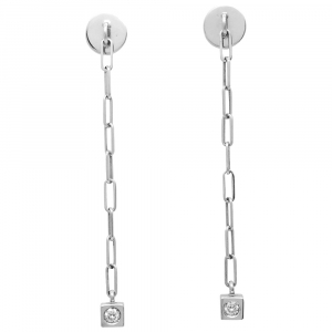 "Boucles d'oreilles Dinh Van, collection ""Cube"", or blanc et diamants."