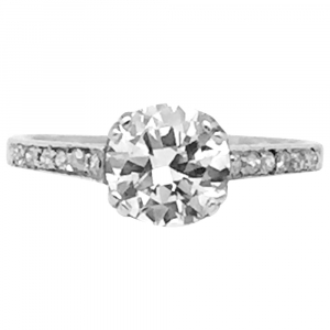 Bague en platine, diamant 1,51 ct, G/SI2