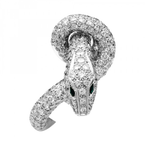 "Bague Boucheron, ""Animaux de Collection- Kaa"", en or blanc diamants et émeraudes."