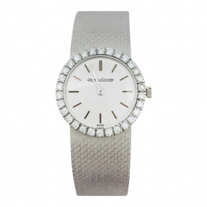 Montre vintage Jaeger LeCoultre, diamants et or blanc.