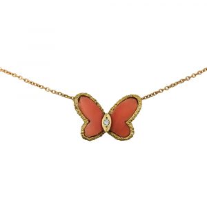 "Collier Van Cleef & Arpels, ""Papillon"" en or jaune, corail et diamants."