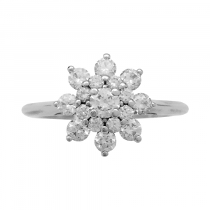 "Bague ""fleur"" Tiffany en platine, diamants."