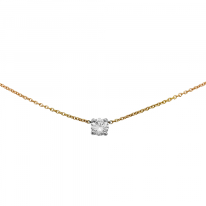 Collier solitaire, 0,51 ct, diamant deux tons d'or.