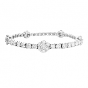 "Bracelet Van Cleef & Arpels, ""Fleurette"", en or blanc et diamants."