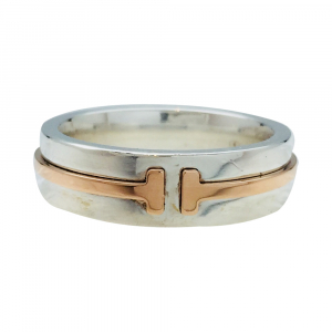 """Bague Tiffany & Co., """"Tiffany T Two"""", argent et or rose."""