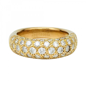 Bague Cartier pavage diamant, or jaune.