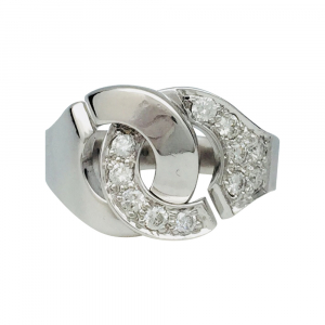 "Bague Dinh Van, ""Menottes R12"",  or blanc, diamants."