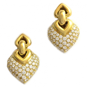 "Boucles d'oreilles Bulgari ""Doppio Cuore"", or jaune et diamants."