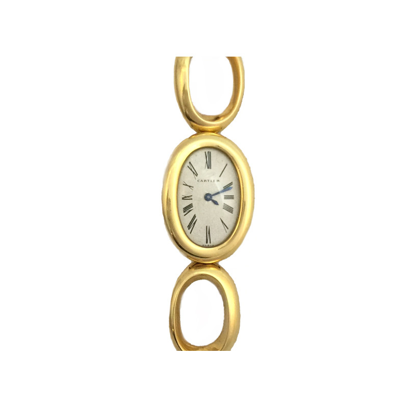 yellow gold cartier vintage watch baignoire on a yellow gold bracelet. Black Bedroom Furniture Sets. Home Design Ideas