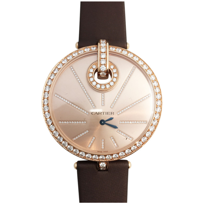 Pink gold cartier jewelry watch captive xl collection diamonds for Jewelry watches