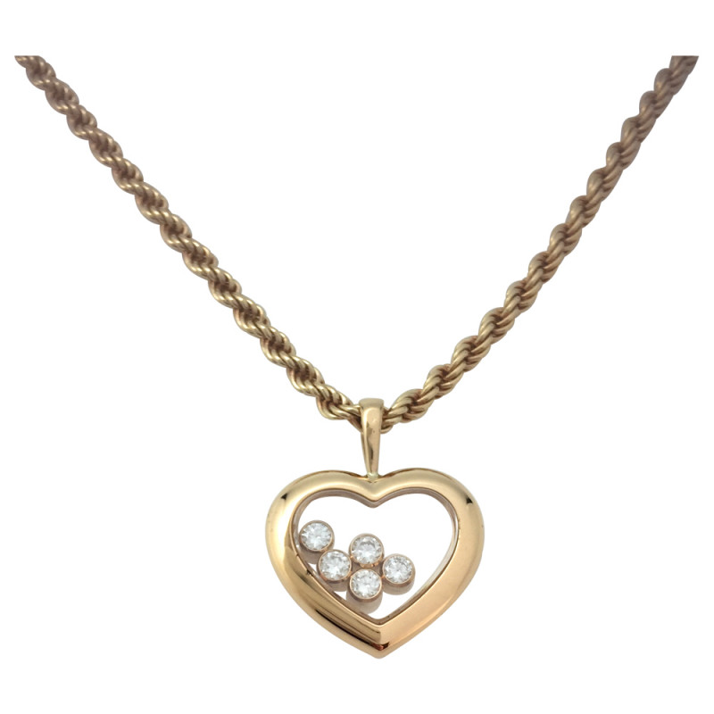 Yellow gold chopard happy diamond pendant yellow gold chopard happy diamonds pendant aloadofball Image collections