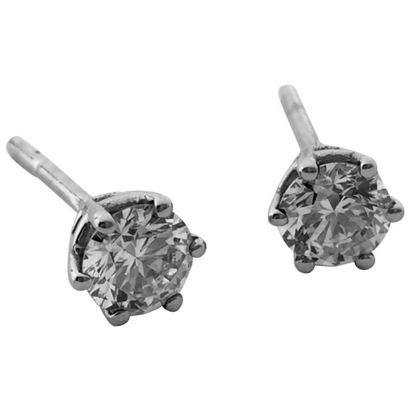 Boucles d'oreilles puces en or blanc, diamants.