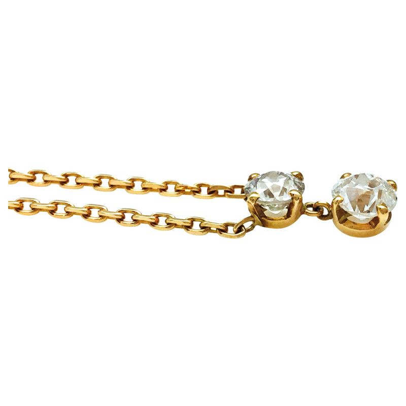Collier en or jaune, diamants taille ancienne.