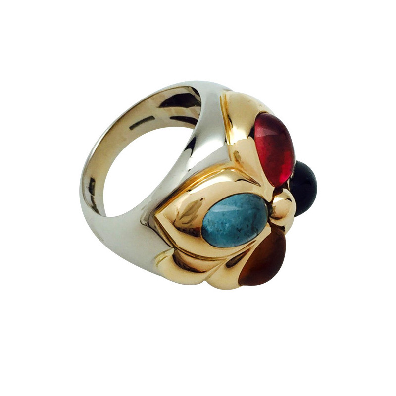 "Bague Bulgari, collection ""Doppio Bacellato"", deux tons d'ors et pierres fines."