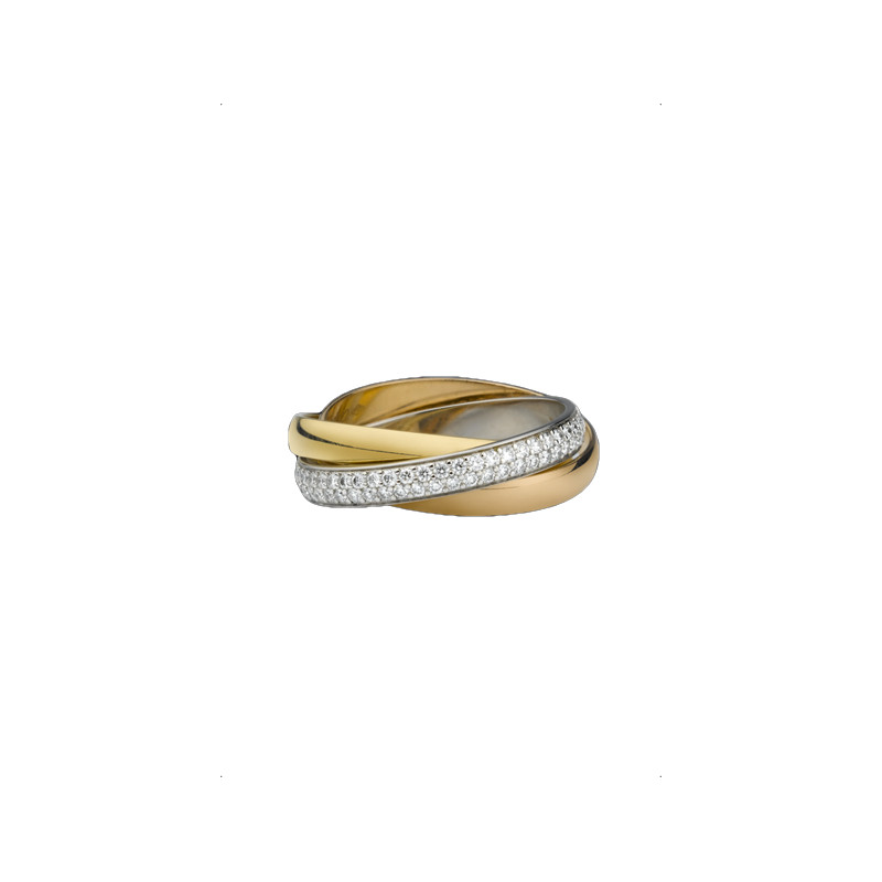 "gold Cartier ring ""Trinity"" collection diamonds"